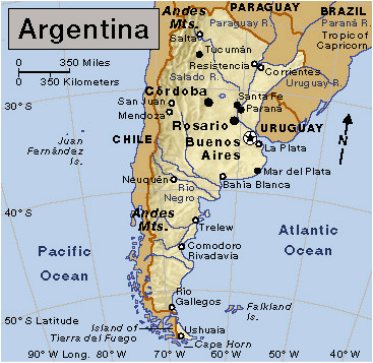 Location Argentina - Argentina map latitude